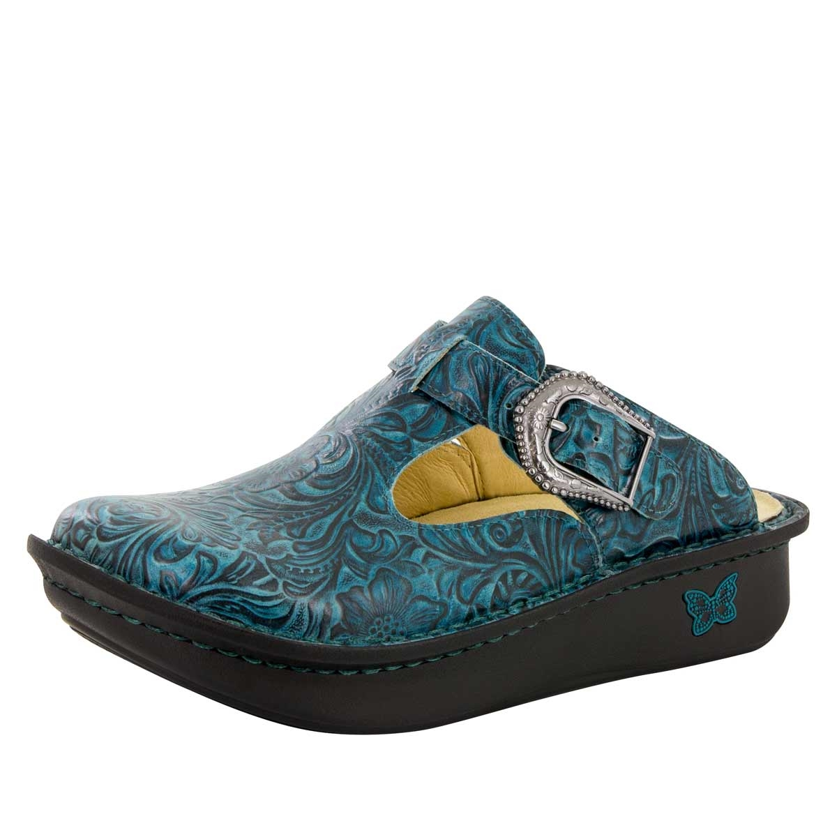 Alegria Classic Teal Tooled womens open back clog. View Larger Photo Email A  Friend
