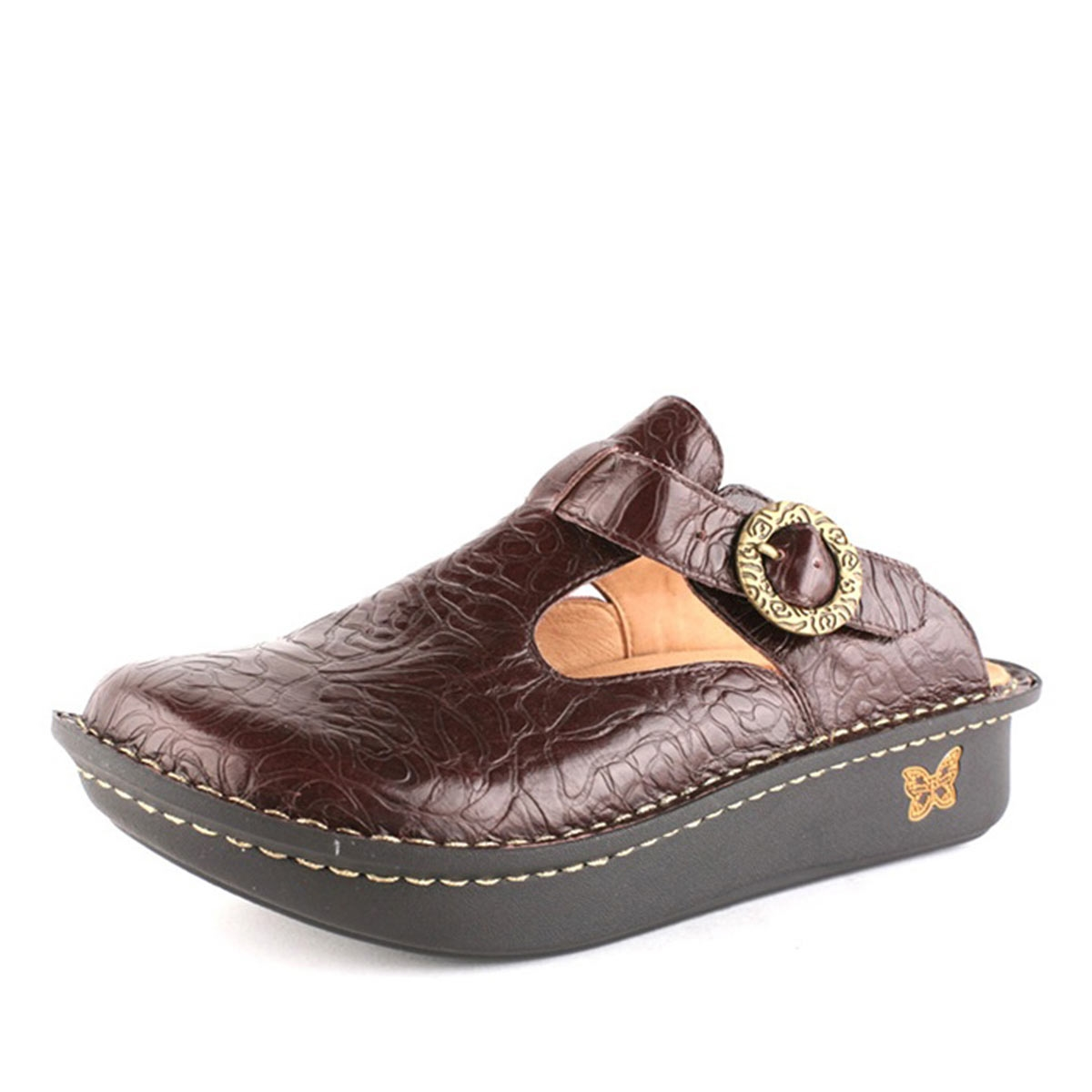 Alegria Classic Brown Emboss Rose Alegria Shoe Shop