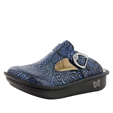Alegria Classic Blue Romance blue embossed womens open back clog with slip resistant bottom