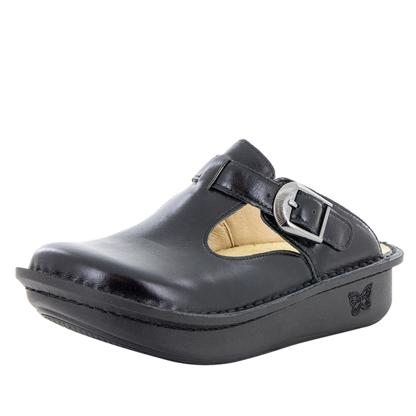 Alegria Classic Jet Luster black womens open back clog with slip resistant bottom