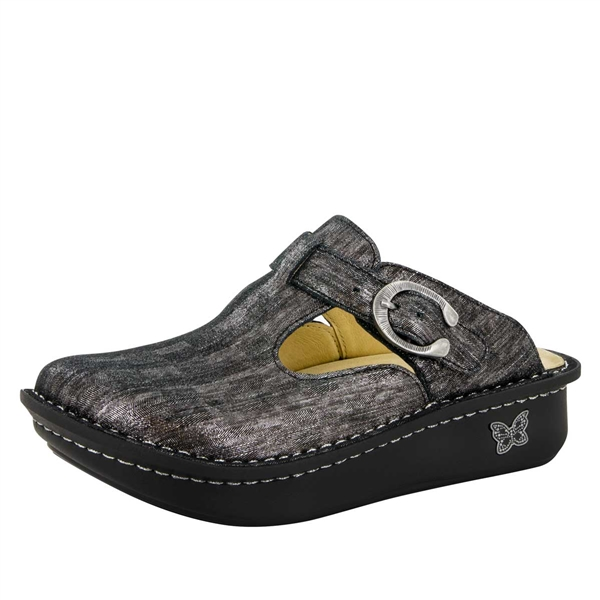Alegria Classic Pewter Thumbprint womens open back clog