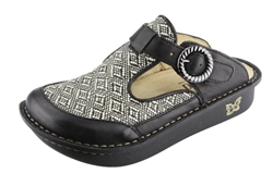 Alegria Classic Ikat Raffia leather open back clog for women