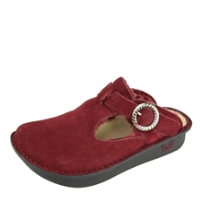 Alegria Classic Burgundy Shearling womens open back clog