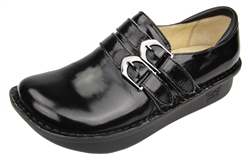 Alegria Alli Black Waxy womens leather stain resistant oxford