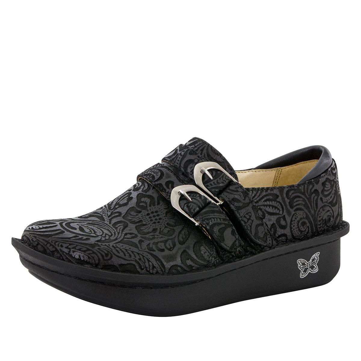 Alegria Alli Black Embossed Paisley slip resistant loafer for women