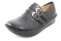 Alegria Alli Black Silver Rose womens stain resistant leather loafer