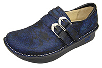 Alegria Alli Blue Twist womens blue leather stain resistant oxford