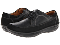 Alegria Mens Hewlett Black Nubuck comfort casual leather laced shoe