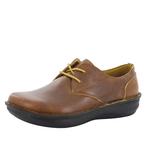 Alegria Men's Liam Tawny slip resistant lace up oxford