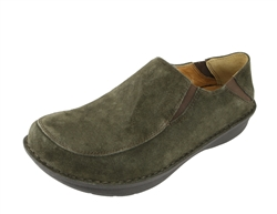Alegria Men's Schuster Olive Suede Leather slip resistant comfort loafer