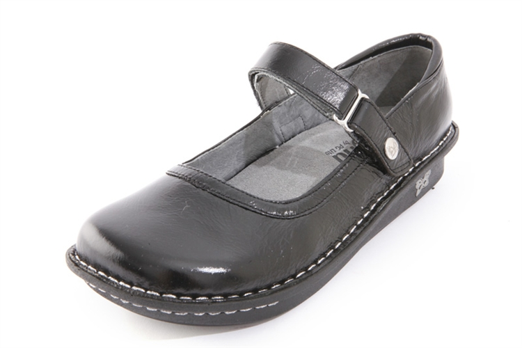 Alegria Belle Black Crinkle leather mary jane shoe for women · View Larger  Photo Email ...