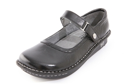 Alegria Belle Black Crinkle leather mary jane shoe for women