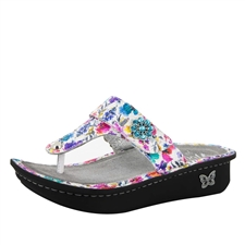 Alegria Carina Perennial Crackle womens leather thong sandal