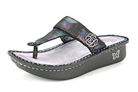 Alegria Carina Blue Rainbow womens leather iridescent sandal