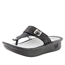 Alegria Carina Chained Black womens leather thong sandal