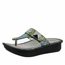 Alegria Carina Tectonic womens leather thong sandal