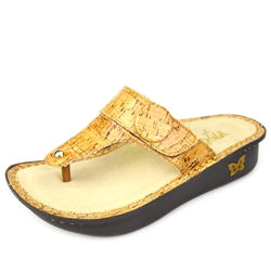 Alegria Carina Cork womens leather thong sandal