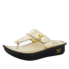 Alegria Carina Gold Dazzler womens leather thong sandal