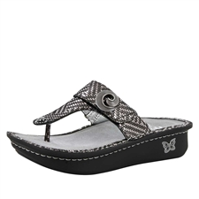 Alegria Carina Pewter Dazzler womens leather thong sandal