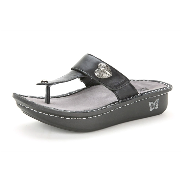 Alegria Carina Black Napa womens leather thong sandal