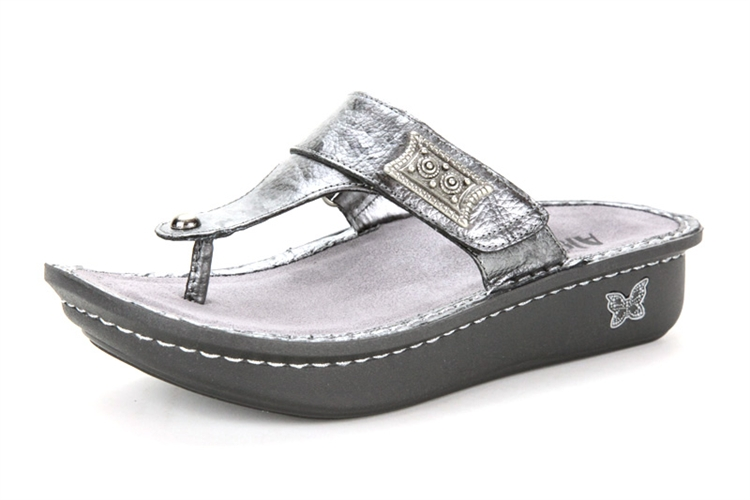 Alegria Carina Pewter Black Tumble leather sandal for women · View Larger  Photo Email ...