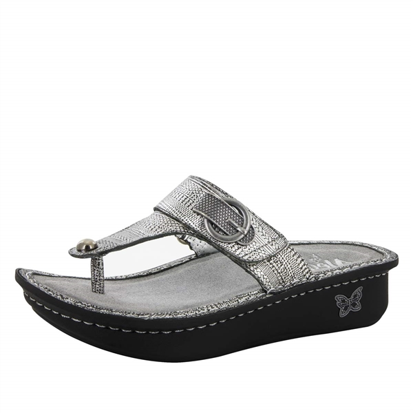 Alegria Carina Chain Mail womens leather thong sandal