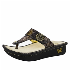 Alegria Carina Bronze Mosaic womens leather thong sandal