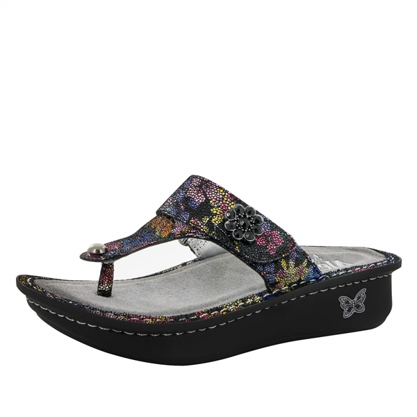 Alegria Carina Noche Flora womens leather thong sandal
