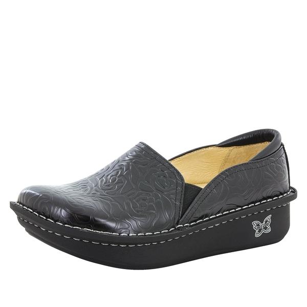 alegria debra black embossed nursing shoes