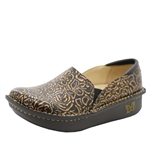 Alegria Debra Bronze Bouquet brown womens slip resistant nursing shoe