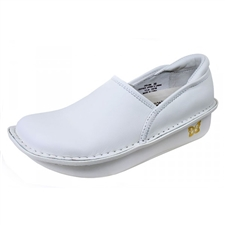 Alegria Debra White Leather womens slip resistant professional nursing shoes