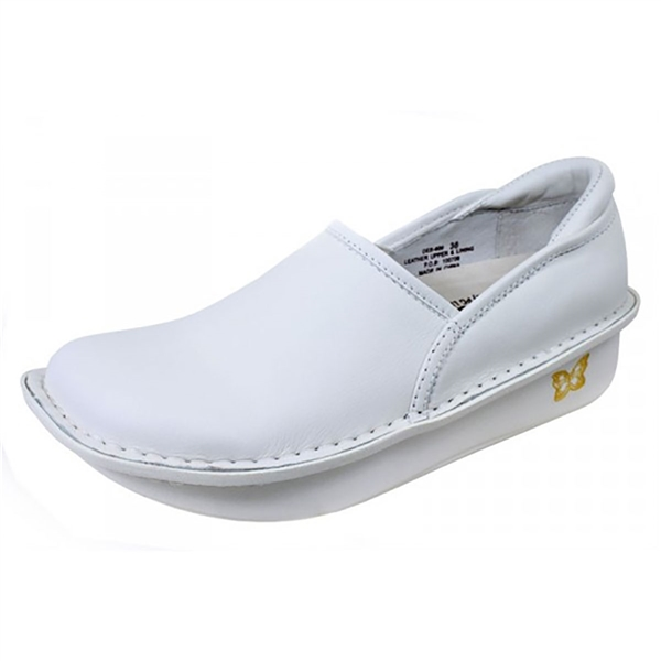 Alegria Debra White Leather Nursing Shoe Free Shipping