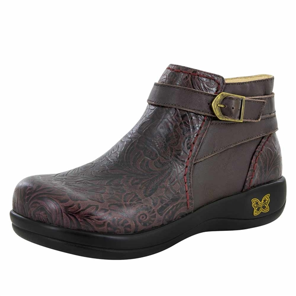 Alegria Dylan Molasses Tooled waterproof womens comfort boot