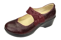 Alegria Ella Wine Rosette slip resistant dress shoes for women