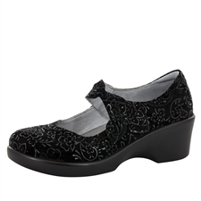 Alegria Ella Black Sprigs women slip resistant mary jane shoes