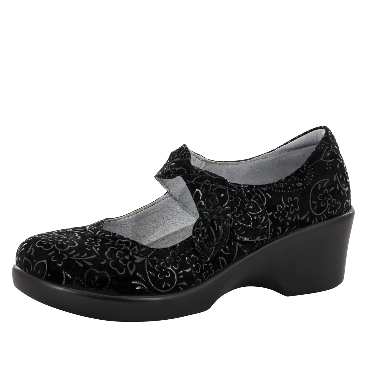 Alegria Ella Black Sprigs women slip resistant mary jane shoes. View Larger  Photo Email ...