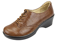 Alegria Etta Brown Burnish Snake womens dress oxford comfort shoe