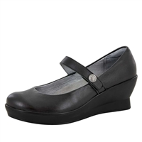 Alegria Flair Black Nappa slip resistant dress shoes for women