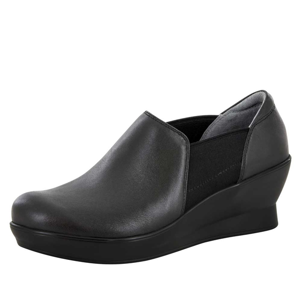 Alegria Fraya Black Nappa slip resistant dress shoes for women