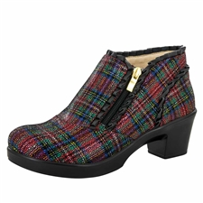 Alegria Hannah Tartan side zipper booties