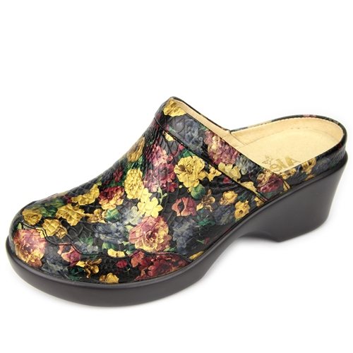 Alegria Isabelle Queenie Gold womens leather wedge mule shoes. View Larger  Photo Email ...