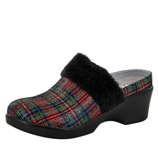 Alegria Isabelle Tartan womens leather wedge mule shoes