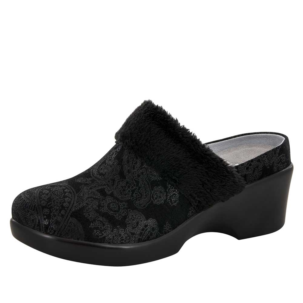 Alegria Isabelle Black Beauty womens leather wedge mule shoes. View Larger  Photo Email ...