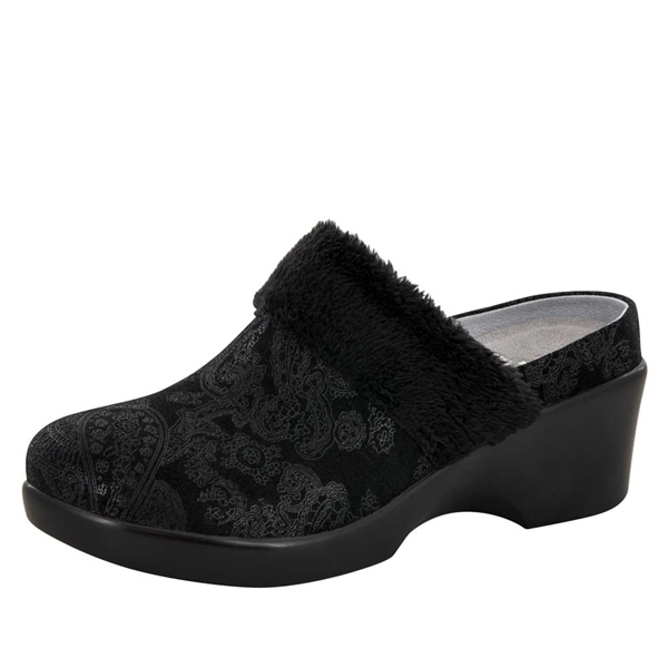 Alegria Isabelle Black Beauty womens leather wedge mule shoes