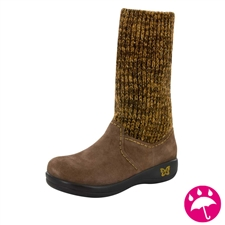 Alegria Juneau Choco Gold womens knit sock boot