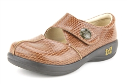 Alegria Kaitlyn Cognac Burnish Snake womens stain resistant nursing shoes