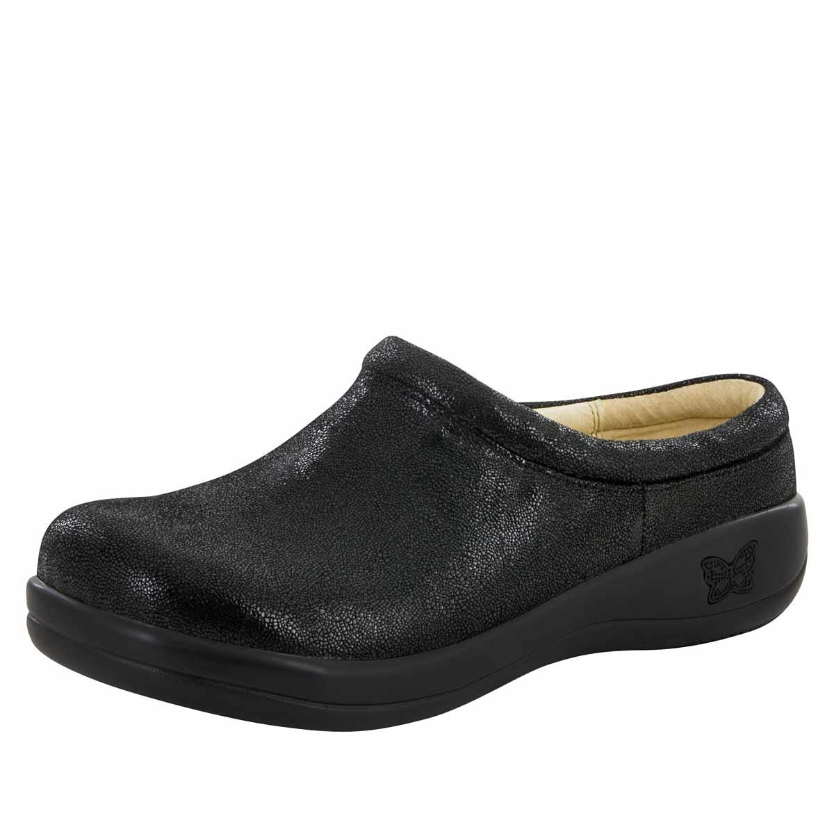 Alegria Women's Kayla Shoe Black Leather Clog Mule Licorice Soft Serve Shoes