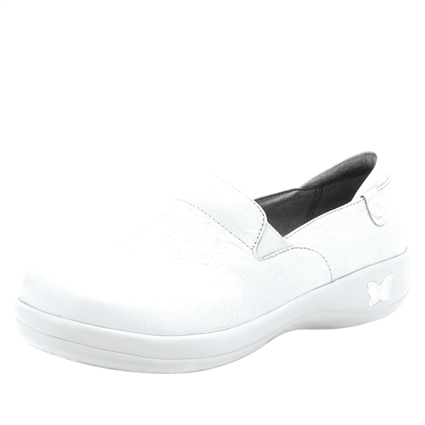 Alegria Keli PRO White Tooled womens comfort nursing shoe