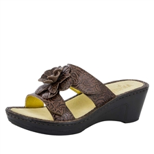 Alegria Lana Cowgirl Tobacco leather comfort wedge sandal for women