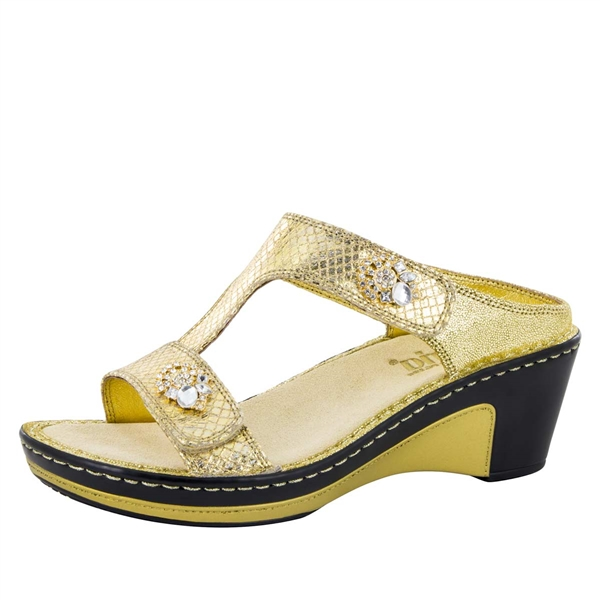 Alegria Lara Golden Unity leather comfort wedge sandal for women